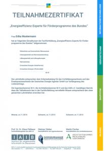 Teilnahmezertifikat der Fachfortbildung